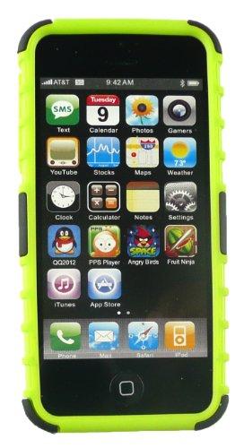 Emartbuy® Apple Iphone 5s 5 Dual Schicht Robuste Starkes Schutzhülle Case Cover mit Integriertem Ständer Rot / Schwarz Dual Schicht Grün / Schwarz