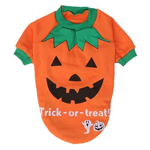 JAGETRADE Disfraz de Traje de Mascota para Halloween, Gato Cachorro de Perro Calabaza Ropa de Abrigo Divertido Jersey X-Pequeño