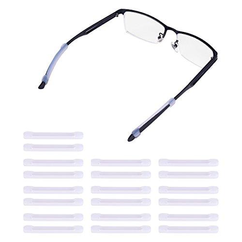 Weiye Brillenbügelhüllen - Weiche Silikon Anti-Rutsch-Ohrpolster für Brillen und Bügelspitzen, Halterung, 20 Stück Transparentweiß