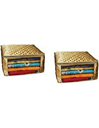 Fancy Walas™ Saree Cover Extra Large Size In Golden Quilted Satin (With Capacity Of Upto 15 Sarees)
