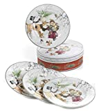 Juego de 4 Platos navideños de Porcelana en Elegante Caja