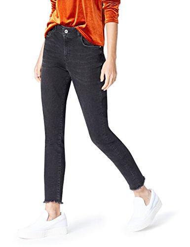 FIND Damen Skinny-Jeans mit ausgefranstem Saum, Schwarz, W38/L32 (Herstellergröße: XXX-Large) (Saum Denim)