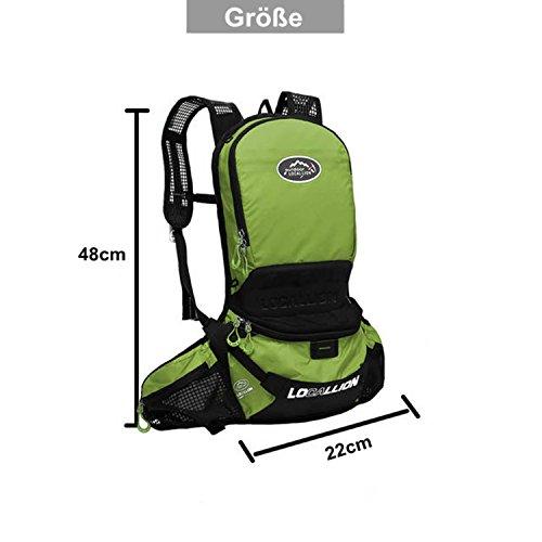 West Biking Ultraleicht 630g Fahrrad Rucksack 25L mit Helmhalterung/Träger verstellbar Outdoor Sport backpack 5 Farben. Grün