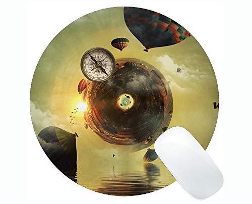 Rutschfeste runde Gummimausunterlage des Kompass-Spiels, Hintergrund-alte Karten-Ballon-runde Gummimausunterlage