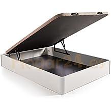 Hogar24.es. Canapé abatible madera gran capacidad con tapa 3D y válvulas de transpiración, incorpora 4 patas en madera maciza, color blanco 105X190