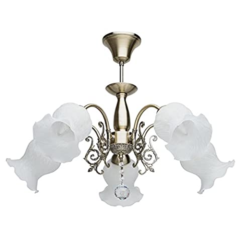 Graceful and exquisite ceiling chandelier in flower design antique brass metal colour clear crystal drop 5 arms matt white glass shades bright direct light for a living room or bedroom with low ceiling 5*60W E27 - Elegante Cristallo