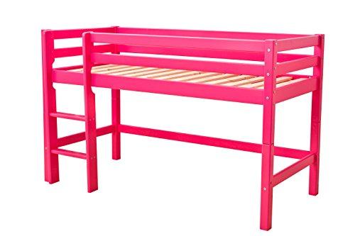 Hoppekids Halbhochbett, Spiel-/Junior-/Kinder-/Jugendbett, Kiefer massiv, 4 Farben Liegefläche 70 x 160 cm, Holz, rosa, 168 x 81 x 105 cm -