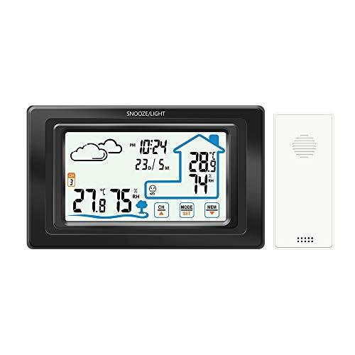 CWWHY Drahtlose Wetterstation, Berührungsempfindlicher Bildschirm, Innen- / Außensensor, Temperatur Mit Alarmen/Luftfeuchtigkeit,Black