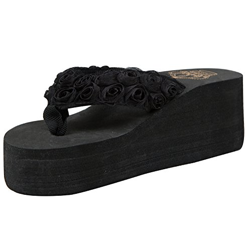 Oasap Femme Eté Tongs Floral Talons Compensés Mode Noir