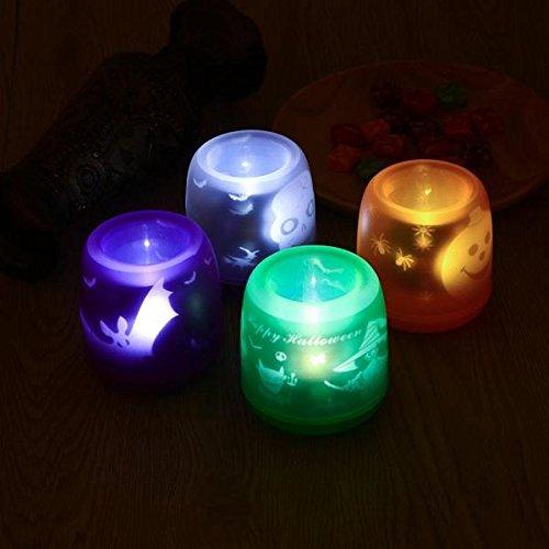 (Bazaar Bunte Flammenlose Sprachsteuerung LED Projektor Kerze Nacht Licht für Weihnachten Halloween)