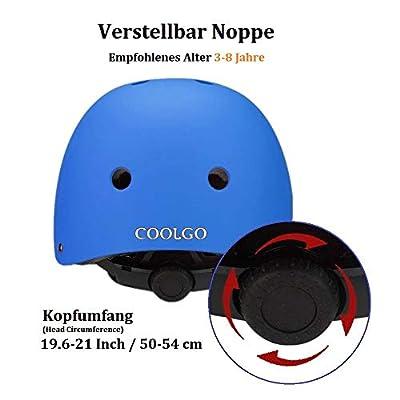 COOLGO Kinder Knieschoner Set mit Helm für Skateboard Blau