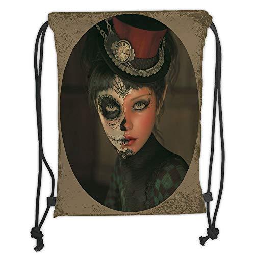 Trsdshorts Drawstring Backpacks Bags,Sugar Skull Decor,Antique Portrait Girl with Calavera Inspired Makeup and Topper Realistic Decorative,Multicolor Soft Satin,5 Liter Capacity,Adjustable St (Für Make-up Calaveras Halloween)