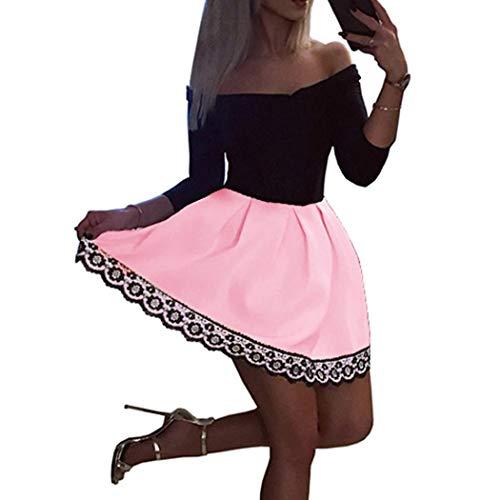 MCYs Frauen Vintage Langarm Spitzen Ballkleid Langarm Schulterfreies Spizte Party Minikleid Abend...