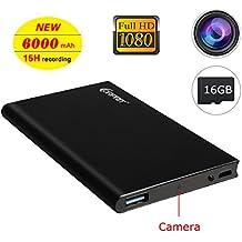 Corprit Cámara Oculta Spy IP Cam HD 1080P Ultrafino Banco de energía 6000mAh Grabador Fuente de Alimentación Portátil Cámara de Seguridad Espía, Incluye Micro SD de 16GB
