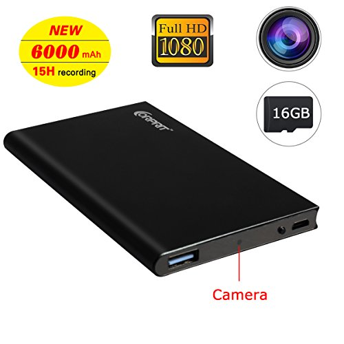 Preisvergleich Produktbild Corprit 1080P HD Spionage Kamera Power Bank 6000 mAh Recorder USB Netzteil Notebook Sicherheit Spion Kamera Mini versteckte Überwachungs Kamera, tragbare kleine Kamera, Bewegung entdecken Überwachungskamera mit 16GB Gedächtnis