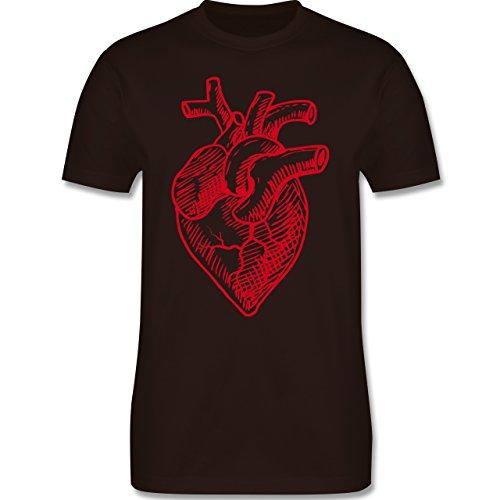 Statement Shirts - Organisches Herz Motiv - Herren Premium T-Shirt Braun