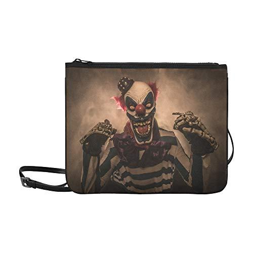 EIJODNL Evil Scary Clown Monster Pattern Benutzerdefinierte hochwertige Nylon Slim Clutch Cross Body Bag Schultertasche