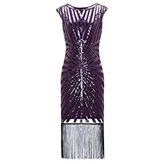 Metme Women's 1920s Classic Long Beaded Cocktail Party Dress Fringe Embellished for Cocktail Gatsby Party (XS, Voilet)