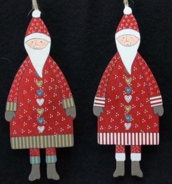 Set di 2Folk Art Babbo Natale by Gisela Graham - Folk Art Wall Hanging
