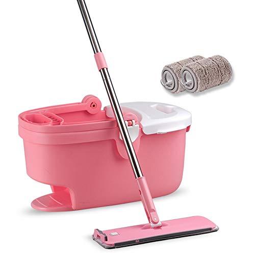 BERID Kreativer Mopp und Eimer, Rotations-Flachmopp, Abnehmbarer Swabber, 2 Wiederverwendbare Wischmopps inklusive, für die Nass- oder Trockenreinigung (Farbe : Rosa)
