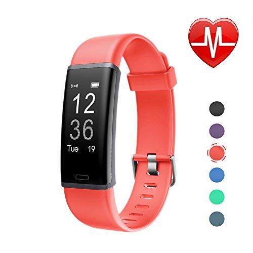 Letscom Fitness Armband mit Pulsmesser Fitness Tracker wasserdicht Aktivitätstracker Armbanduhr mit Schrittzähler, Pedometer, Kalorienzähler, Smart Armband für Kinder, Damen und Herren Kompatibel mit Android iOS Smartphone, korallenrot.