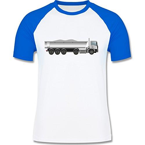 Andere Fahrzeuge - Großer Sattelkipper Stallel Sattelzug Muldenkipper Wannenkipper Kippsattelanhänger - zweifarbiges Baseballshirt für Männer Weiß/Royalblau