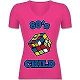 Statement Shirts - 80's Child - Zauberwürfel - M - Fuchsia - F281N - Tailliertes T-Shirt mit V-Ausschnitt für Frauen