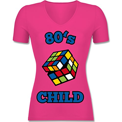 Statement Shirts - 80's Child - Zauberwürfel - XXL - Fuchsia - F281N - Tailliertes T-Shirt mit V-Ausschnitt Für Frauen (Fruit Of The Loom-jugend-t-shirts)
