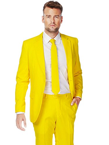low Solid Yellow Suit For Men Coming With Pants, Jacket and Tie - 100% Money Back Guarantee (Dapper Day Kostüme)
