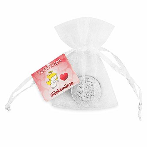 EnerChrom – Schutzengel-Glücksmünze als Glücksbringer – von Herzen - Farbe: Silber - 1 Stück im Organzasäckchen – Paul & Lilli...