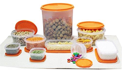 Princeware SF Package Plastic Container Set, 10-Pieces, Orange