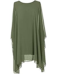Ladies Women Girls Italian Lagenlook Quirky Short Batwing Sleeve Plain Flowy Kaftan Baggy Holidays Oversized Tunic Top Blouse Dress…