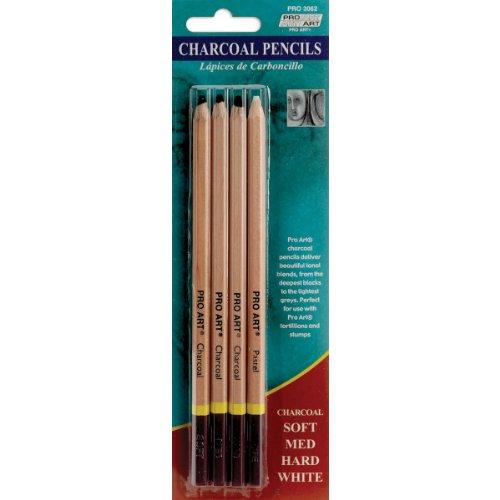 crayons-de-charbon-de-bois-pro-art-4-pkg-doux-moyen-dur-blanc