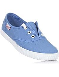 CIENTA - Zapato azul de tejido ecológico natural, made in Spain, punta de caucho, forro de tejido transpirante, Niño, Niños-32