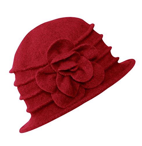 Urban GoCo Damen Vintage Bucket Hut Wintermütze Beret (#2 Rot)