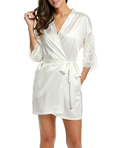 BeautyUU Damen Satin Kimono Nachthemd Morgenmantel Bademantel Kurze Schlafanzüge mit Blumenspitze Nachtwäsche mit Tiefer V-Ausschnitt XS-XXL