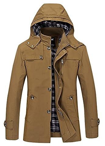 Vogstyle Hommes Jacket Printemps Nouvelle veste à capuche Trench Coats Jaune 3XL
