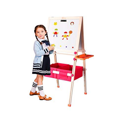 ffelei, doppelseitige magnetische Reißbrett, Whiteboard & Tafel Tafel Staffelei mit Zeichnungsachse & Papierrolle, Bonus Magnetics, Zahlen, Paint Cups zum Schreiben (wooden) ()