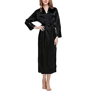 Dolamen Women's Dressing Kimono Gown, Luxurious Silky Lace Satin Long Robe Bathrobe Bridesmaid Wedding Nightwear Pyjamas Sleepwear Size S/M 42.52 inch (Bust 108cm, 42.52 inch, Black)