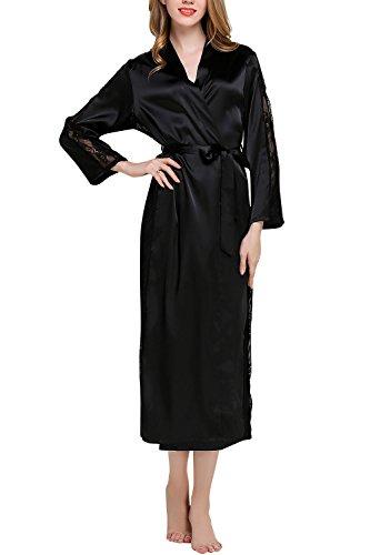 Dolamen Damen Morgenmantel Kimono Lange, Luxuriös Spitze glatte Satin Nachtwäsche Bademantel Robe Kimono Negligee Seidenrobe locker Schlafanzug, Büste 108cm, 45.52 Zoll (Schwarz) (Lange Robe Spitze)