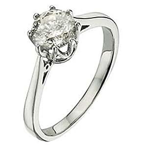 Classical 9 ct White Gold Ladies Solitaire Engagement Diamond Ring Brilliant Cut 1.25 Carat JK-I2 Size J