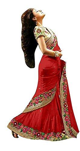 Bollywood Craze Red Color Chiffon & Banglori silk Fabric Embroidery Work Saree...