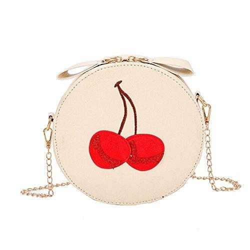 Damen Leder Crossbody Umhängetasche Mädchen Vintage Kirsche Drucken Runde Citytasche...