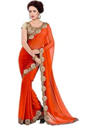 Imperial Collection Women's Priyanaka Orenge Georgette Saree Free Size