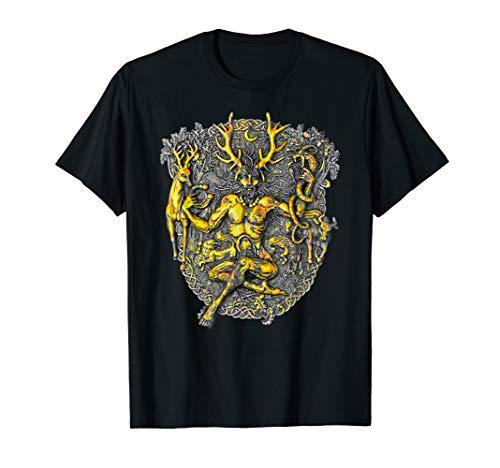 Göttin Grünen T-shirt (Cernunnos Hirsch Gehörnter keltischer Gott T-Shirt)