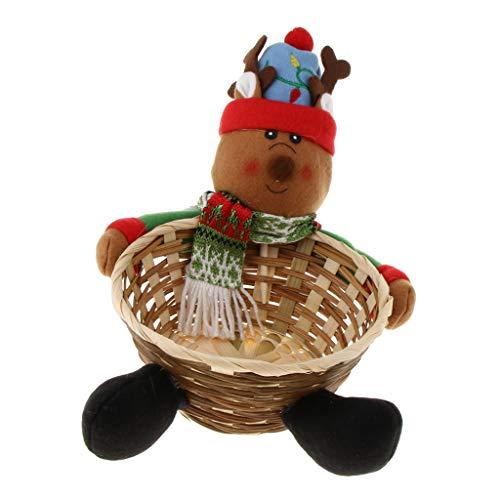 Baoblaze Geschenkkorb Bambus Körbchen Füllkörbchen Aufbewahrungskorb für Süßigkeiten Kekse und Brötchen, Weihnachten Stil