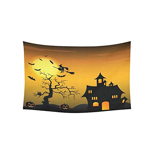 lloween Night Background with Witch and Pumpkins Tapestries Wall Hanging Flower Psychedelic Tapestry Wall Hanging Indian Dorm Decor for Living Room Bedroom 80 X 60 Inch ()