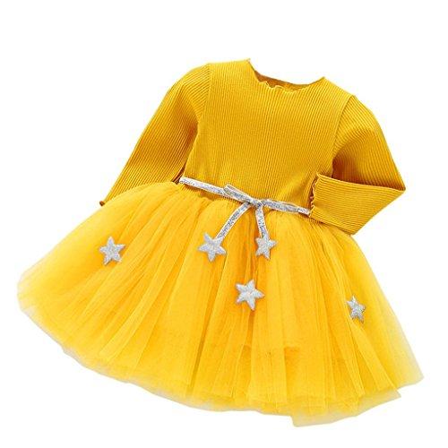 Kleid Mädchen, HUIHUI Festlich Prinzessin Party Kleid Mode Star Lange Ärmel Rock Casual Frühling Sommer Herbst Bekleidung 0-24 Monate (100 (12-18Monate), Gelb)