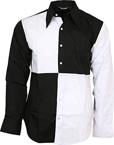 Herren Harlekin Kostüm - Relco Exklusiv Herren Harlekin Hofnarr Schwarz Weiß Hemd Party Bühne Kostüm - Schwarz Weiß, M