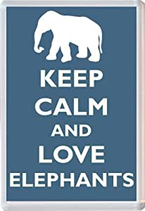 Keep Calm and Love Elephants - Novelty Jumbo Fridge Magnet Gift/Souvenir/Present